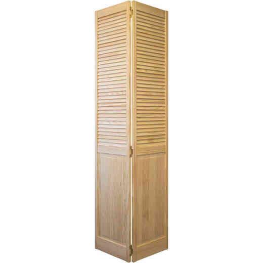 Jeld Wen 30 In. W. x 80 In. H. Pine Louver/Panel Natural Color Bifold Door