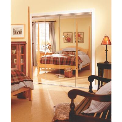 Erias Series 4900 24 In. W. x 80-1/2 In. H. Steel Frameless Mirrored White Bifold Door