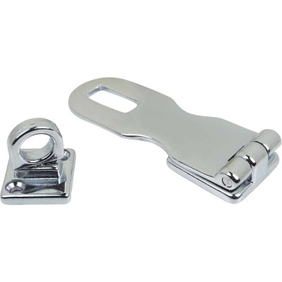 Seachoice 3 In. x 1 In. Chrome-Plated Cast Brass Swivel Eye Hasp
